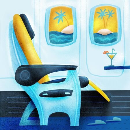 The passenger seat in airplane business class. Cocktail on the site of the chair. Tropical vacation. Summer travelling concept.  flat cartoon illustration