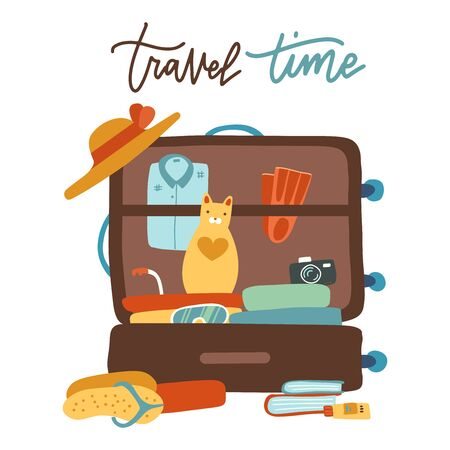 Colorful pet traveling concept with cat sitting in bag suitcase. Flat vector illustration with lettering Travel time.
