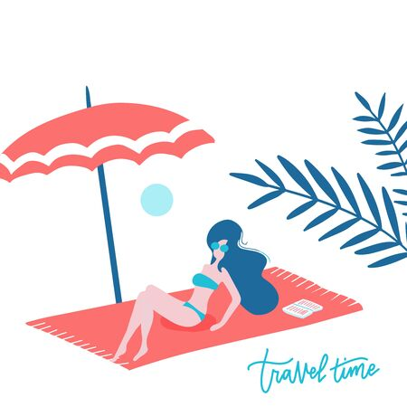 Beautiful cute happy tan woman lying on the beach towel under an umbrella with unglasses. White sand coast. Rest alone in a tropical hot sunny place. Blank space for text, message, ad. Vector flat 일러스트