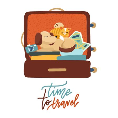 Pet travel. A cute dog, cat and hamster sitting in an open suitcase with vacation accessories. Flat vector illustration for travel on a sticker, poster, card, print with lettering Time to travel