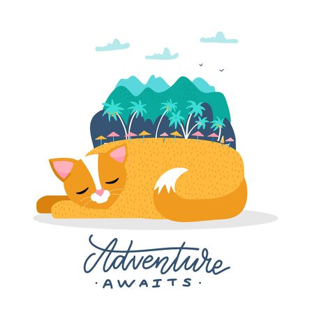 A cat on summer holiday illustration. A sleeping cat dreams of traveling to an exotic island. Mountains and trees on the back of the pet. Flat vector illustration with lettering Adventure awaits. 일러스트