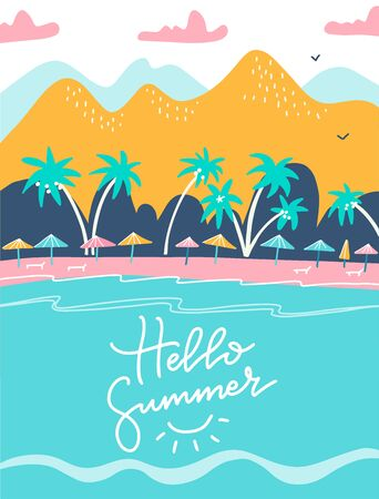 Hello summer lettering quote. holiday and tropical vacation poster or greeting card. Tourist sunbeds on the coast, umbrellas and palms near the mountains. Vector flat illustartion design 일러스트