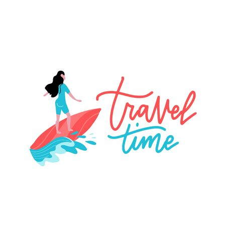 Summer Time Banner with Women Character Surfing on Blue Ocean Wav. Cartoon Sportswomen Riding Surf Board in Motion. Extreme Water Sport Activities on Vacation. Vector print with lettering Travel time.