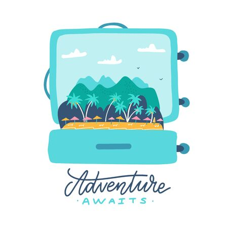 Adventure awaits - lettering quote. Open travel suitcase with tropical island, palm trees, umbrellas and mountains inside. Flat vector illustration. 일러스트