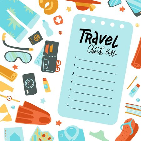 Airplane trip essentials. Traveling check list for carry-on bag for flight with passport and ticket, smartphone and , notebook and credit card and holiday equipment. Flat vector illustration. 일러스트