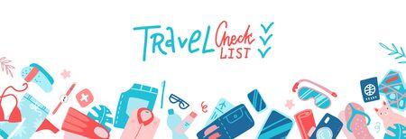 Travel Check List Templae Horizontal Banner With Copy Space Packing Planning Concept. Flat Vector Illustration with lettering text.