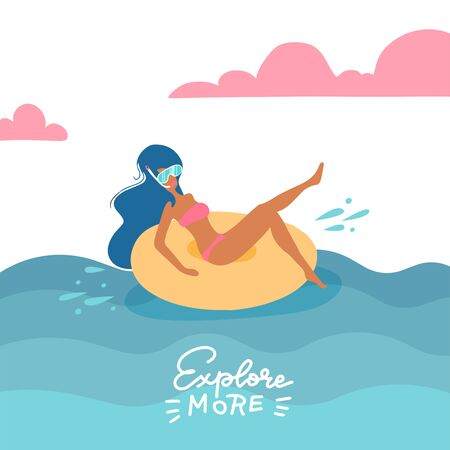 Young woman in swimsuit and snorkeling mask relaxing on a rubber ring in the sea. The girl on a summer holiday swims on a swim ring. Vector flat illustration. with lettering quote Explore more 일러스트