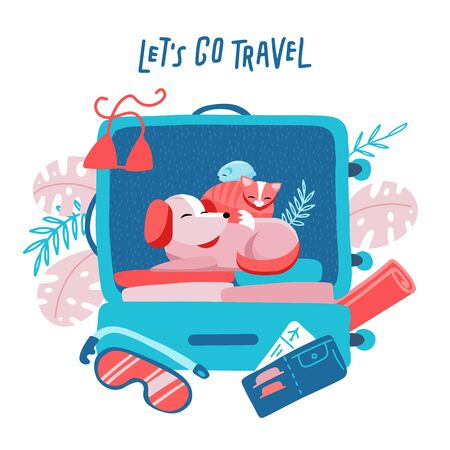 Travel suitcase with dog, cat and hamster. Travelling with animals concept. Minimalism design with holiday objects. Floral palm elements at background. Vector flat style illustration.