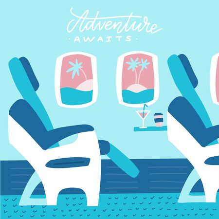 Banner with airplane seats in business class and windows with palm islands. Flat vector illustration with letterong twxt Adventure awaits Porthole, view on the tropical island