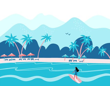 Surfing girl on a beach. Palm, sand, ocean on background. Banner, site, poster template with place for your text. Flat vector illustration in blue colors. 일러스트