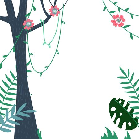 jungles leaves and summer tropical frame vector illustration poster. Welcome to jungle, palm leaves with exotic jungle flower, tree trunk and liana for summer sale banner or poster.