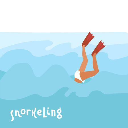 Flippers up! - Colorful cartoon flat vector style art with a diving woman in flippers and lettering quote Snorkeling. Sea snorkel. Flat hand drawn vector illustration