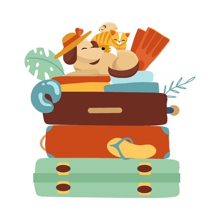 Stack of Suitcases on a white isolated background. Vacation and travel concept. Cat, dog and hamster gathered on a trip. Vector flat illustration in cartoon style.