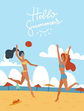 Young women playing volleyball together on the beach vector illustration. Happy girls in bikini outdoor activities. Summer holiday relax rest. Flat cartoon illustration with lettering Helllo summer.