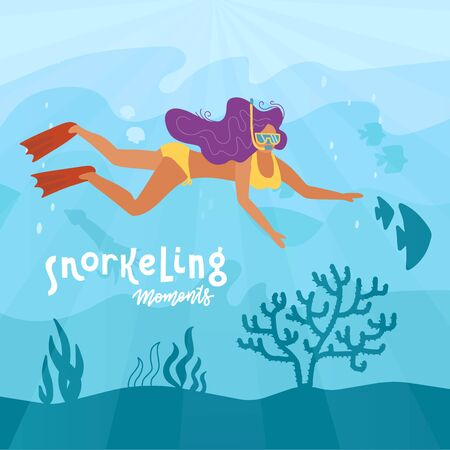 Woman character free diving or snorkeling underwater on sea bottom with corals and seaweed. Girl swimmer. Active recreation, vacation and leisure activity. Cartoon Flat Vector Illustration 일러스트
