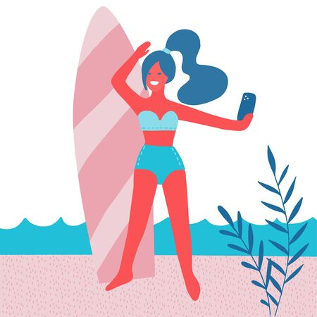Beautiful girl making selfie with surf board on beach with palm leaves, sun. Summer vacation. Woman in swimsuit with mobile phone. Modern flat vector illustration