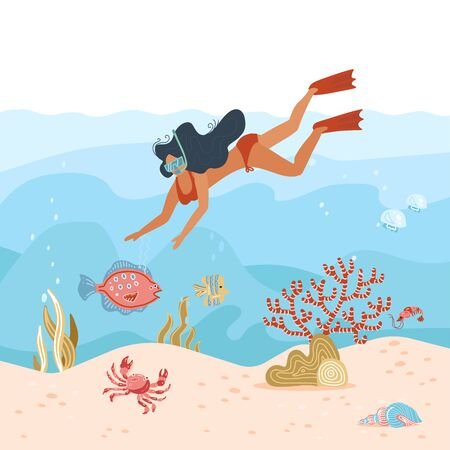 Woman underwater diver. Summer activity. Young girl in snorkeling mask is exploring deep sea life, Diving with tropical fishes and coral reef. Travel lifestyle. Vector flat illustration.