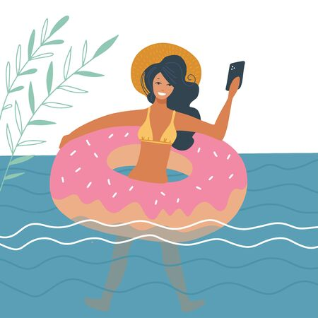 Young woman swimming on inflatable ring makes selfie photo on smartphone. Young girl taking self-photo as keepsake. Swimming in the sea, summer trip, selfie concept cartoon vector flat illustration. 向量圖像