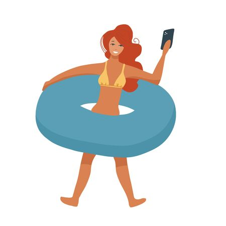Woman with inflatable circle isolated on whote background. Vacation relax, bikini girl and hot sunny day making selfie. Flat vector illustration.