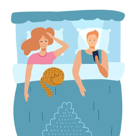 Sleepless man and woman suffer from insomnia. Couple with open eyes in darkness night lying on bed concept. Sad husband awake using smart phone, wife tired with dream problem. Flat vector illustration Illustration