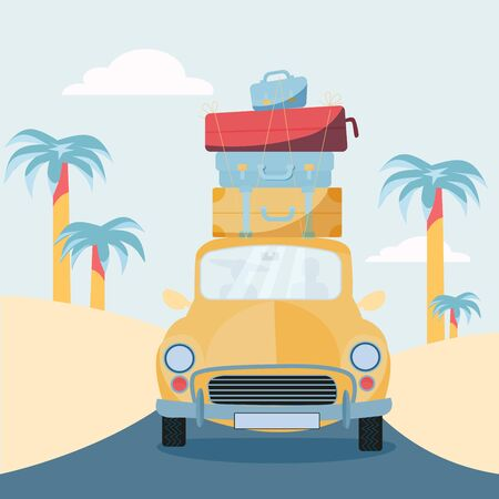 Planning summer vacations, Travel by car. Vehicle with suitcases on roof. World Travel, Summer holiday,Tourism and vacation theme. Flat design vector illustration 일러스트