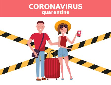 Vacation season cancellation. Coronavirus , Novel corona virus disease COVID-19, 2019-nCoV, MERS-Cov concept. Family man and woman with tradet suitcases and travel can't fly away on vacation.