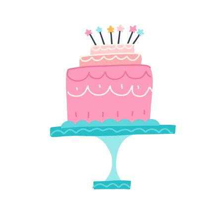 Happy Birthday cake. Party and celebration design elements. Flat style vector illustration 일러스트