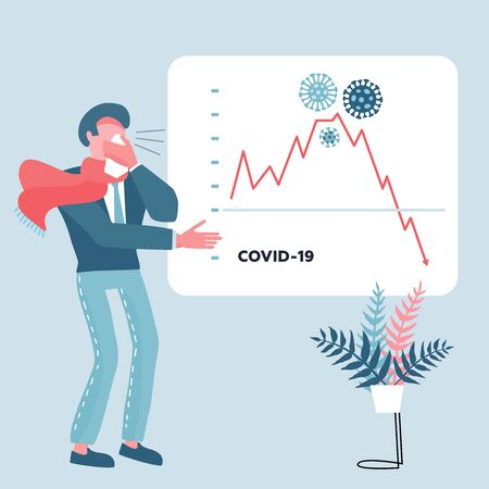 Economy Falling, Financial Crisis and Stock Price Drop Crash due to Coronavirus Outbreak. Businessman shows a presentation with a falling graph. Cash Loss Chart and Graph Arrow Downfall. Flat vector.