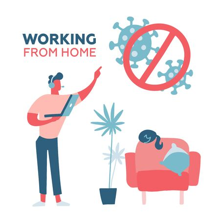 Young handsome man working at home. Mate characted standing with laptop in headphones near armchair with cat. Coronavirus Self-quarantine concept. Stor COVID-19. Vector vector illustration. Vektoros illusztráció