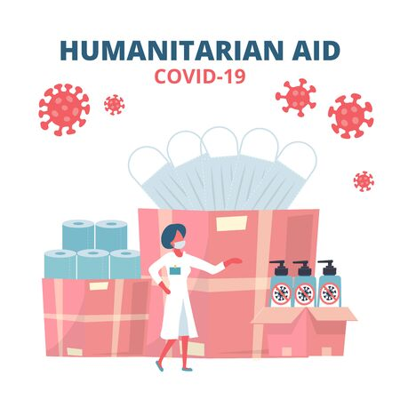 Humanitarian Support, Goodwill Mission in Suffering from Coronavirus Epidemic, Intentional Help, Supplying Masks, Sanitizer gel and toilet paper Concept. Doctor Unloading, Carrying Boxes Flat Vector.