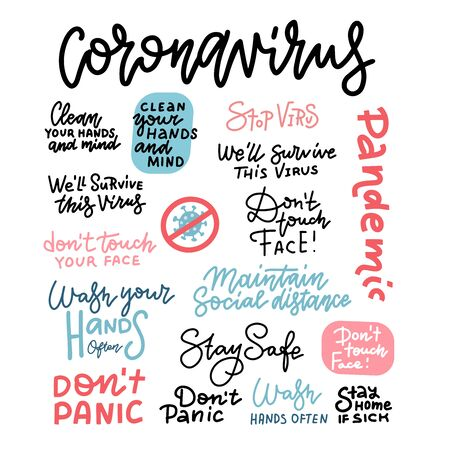 CoronaVirus hand drawn vector illustration set.   pneumonia. Coronavirus covid-19 linear lettering. Epidemic disease banner. Wash Hands. Don't touch face. Stay safe. don't panic. Stay home. Stock Photo