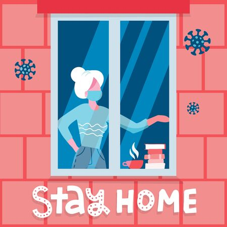 Old woman staying by the window with cup of tea and books in self quarantine, protection from virus. Coronavirus prevention concept. Vector alt illustration with lettering text Stay at home. Иллюстрация