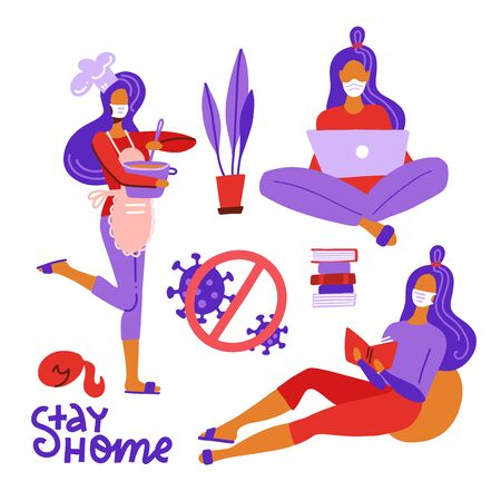 Set of women stay and do activity at home to prevent of flu spread. Female character working on laptop, cooking, reading book, housework.Stay at home coronavirus concept. Flat vector illustration.  イラスト・ベクター素材