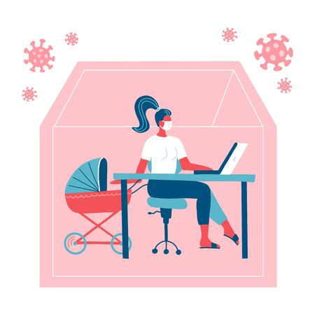 Woman working on a laptop at home with her child in stroller. Mom freelancer with a baby carriage. Remote quarantine. COVID-19 outside silhouette of house. Vector flat illustration 向量圖像