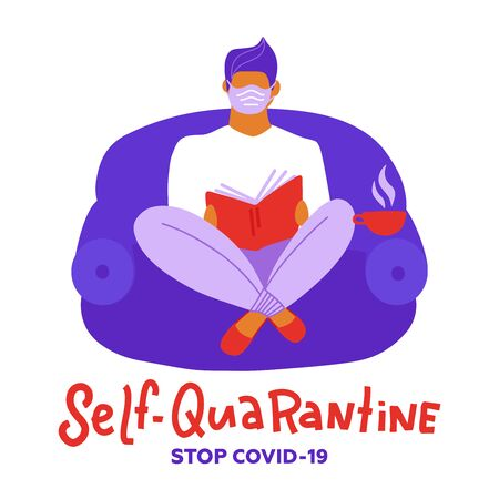 I stay at home awareness social media campaign and coronavirus prevention: man relaxing and reading books. Coronavirus outbreak concept. Staying home with self quarantine. Lockdown at home Ilustração