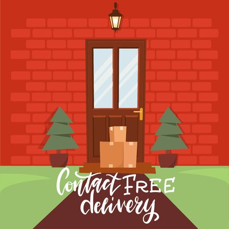 Contactless delivery. Package is next to the door to the house. Goods are delivered to the door. Stay at home concept. Quarantine and prevention of spread of coronavirus. Flat vector illustration.