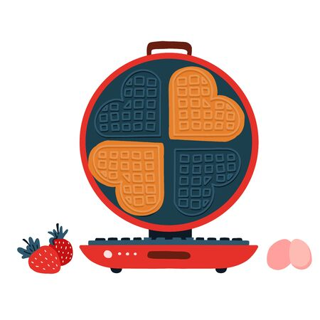 Waffle iron with waffles in the shape of hearts and strawberries in a cartoon flat style. Stock vector illustration. Tasty dessert. Breakfast. Isolated on white background 免版税图像