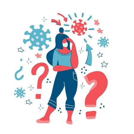 Woman thinks. Coronavirus concept. Girl thinking about problems, finance, life, relationship. Question. Girl solves a problem. Woman with question marks. Stay safe at home. Vector flat illustration Ilustração