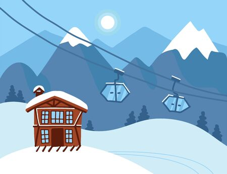 Winter vacation landscape. Mountain ski resort concept scene. Winter time landscape with funiculars, ski lift, mountains, house and snow. Snow time background. Vector flat illustration.
