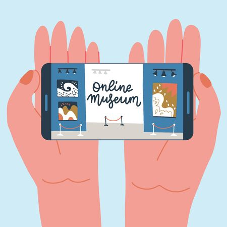 Museum exhibit online concept. Contemporary art gallery. Hands with phone with exibition app on screen. Colorful vector flat illustration with lettering. Home hobby for self isolation.