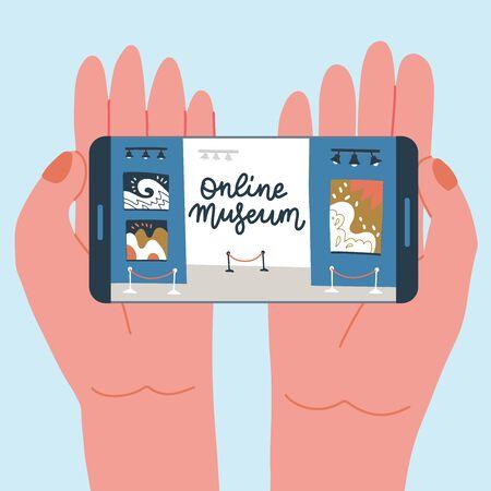 Museumsausstellung Online-Konzept. Galerie für zeitgenössische Kunst. Hände mit Telefon mit Ausstellungs-App auf dem Bildschirm. Bunte flache Vektorgrafik mit Schriftzug. Heimhobby zur Selbstisolation.