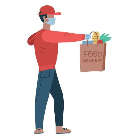 Young man wearing a medical mask and medical gloves to prevent the spread of the corona virus. Person going from the supermarket and holding grocery products in a bag. courier holds out a grocery bag