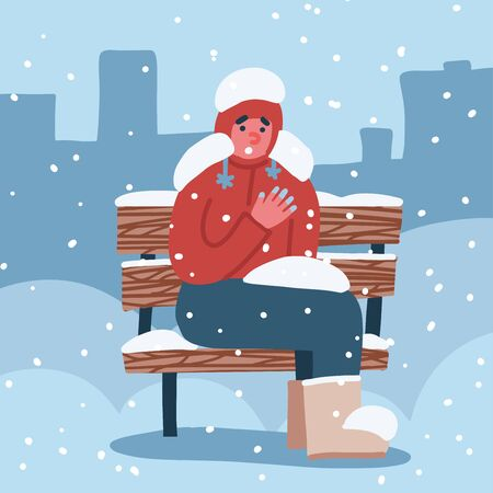 Man suffers from frostbite. A guy with frozen hands in winter sits on a bench covered in snow in winter. Vector flat hand drawn illustration 일러스트