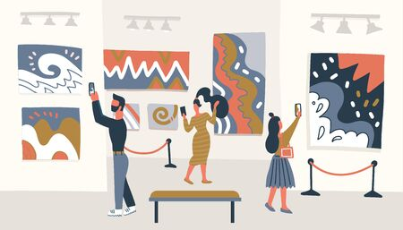 Museum visitors looking at the painting hanging on gallery wall, people viewing museum exhibit. Vector flat illustration