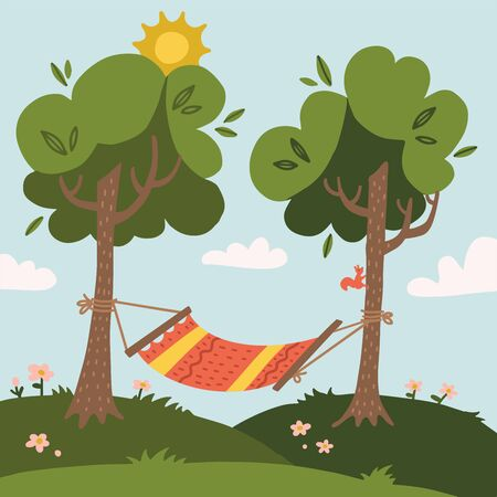 Summer hammock with trees in forest and garden, mountains and clouds. Flat design vector illustration.