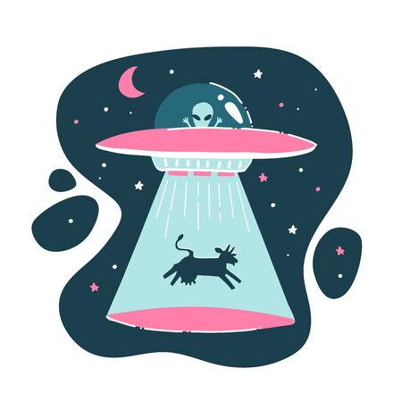 The cow is kidnapped by a UFO. Funny drawing, childish, funny. Drawing by hand. Isolated alien print. Flat vector illustration.