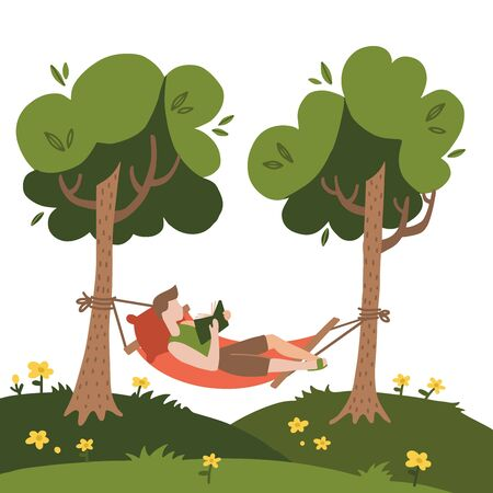 Man lying in a hammock and reading book. Hammock hanging between green trees. Flat hand drawn vector Illustration on a white background. Summer camping concept.