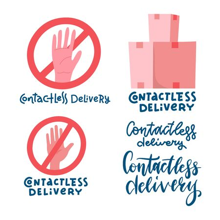 Contactless delivery sign and symbol. Delivery left at the door during the quarantine. Control Epidemic Prevention measures of coronavirus. Crossed out hand palm. Vector flat Illustratio
