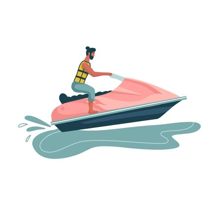Man rides a jet ski. World Travel. Planning summer vacations. Water Sports. Fun in the ocean, Extreme Sport, water skiing flat vector illustration