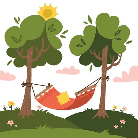 Empty red Summer hammock with trees and landscapes on the background. Nature tourism. Sun and clouds. Flat vector design illustration